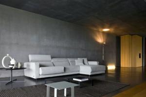 Минималистский бетон настенный потолок белый диван