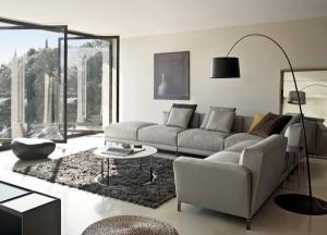 Современный дизайн серый секционный диван черный пол ковровое покрытие