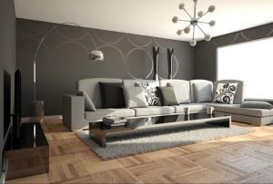 Современный стильный минималистский серый цветной диван