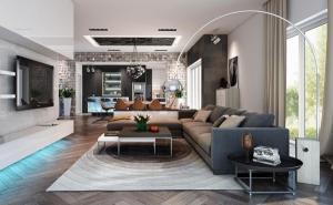 Роскошный интерьер современный диван напольный светильник паркет