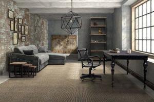 Промышленный дизайн угловой диван кирпичная стена фотографии бетонная стена