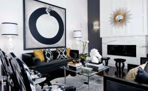 Гламурные черные белые серые цвета современные идеи для дома