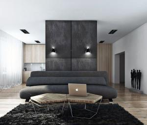 Черная стена в гостиной
