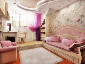 Потолок в детской для девочек в розовых тонах