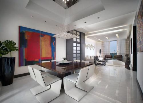 современный дизайн столовой стеклянный стол кожаные стулья