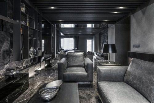 современная черная кожаная кожаная мебель