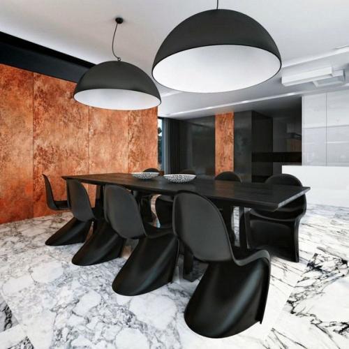 идеи столовая пол стены украшения черная мебель