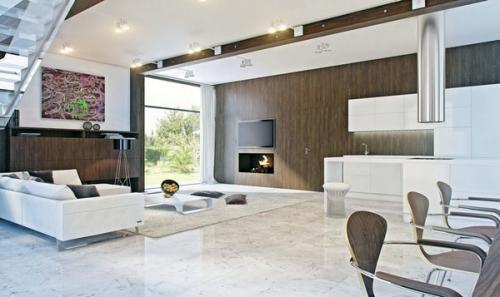 жилой дизайн интерьера мраморный пол