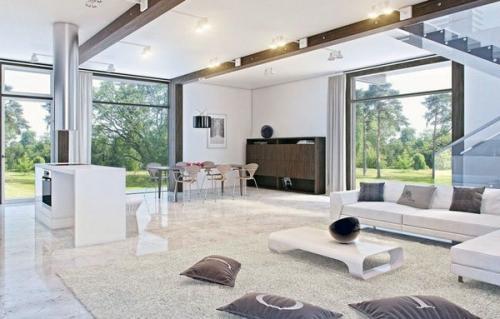 современная гостиная, дизайн интерьера мраморный пол и белый диван