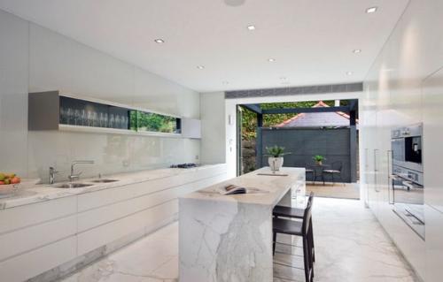 современная кухня минималистский мрамор