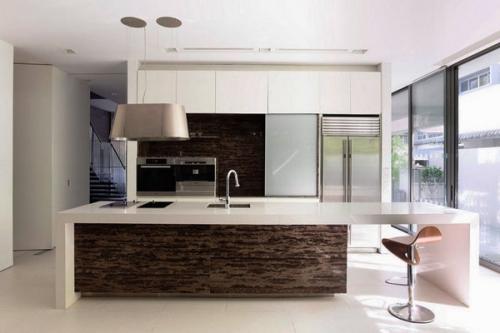 Современные дизайнерские идеи минималистские, серые шкафы - черная столешница
