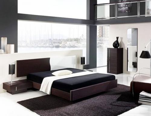 малый дизайн спальни кирпичная стена открытые полки