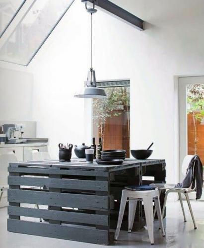 Стол из поддона на кухне