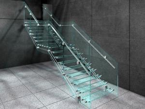 стеклянные лестницы идеи дизайна стальные перила глянцевый пол