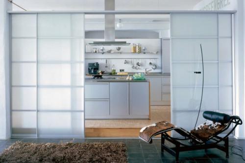 раздвижные стеклянные кухни