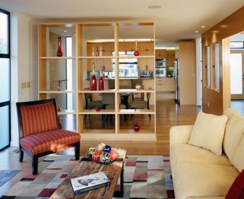 Идеи делителя дизайна деревянные открытые полки
