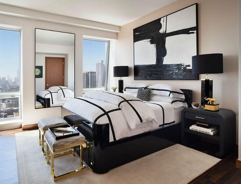 Дизайн спальни в черно-белой гамме