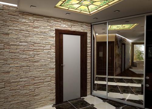 Декоративная отделка камнем в прихожей-kamnem-13