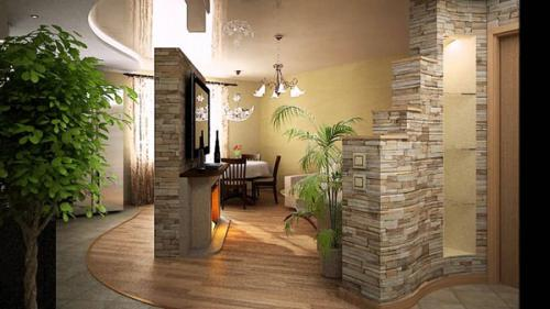 Декоративная отделка камнем в прихожей-kamnem-16