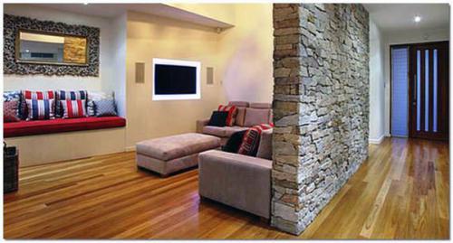 Декоративная отделка стен в гостиной-kamnem-28
