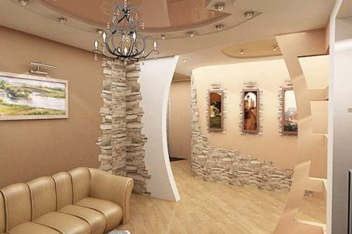 Декоративная отделка стен в гостиной-31
