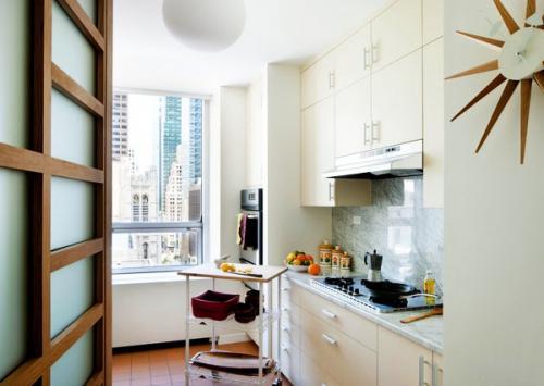 белая кухня, кухонная тележка