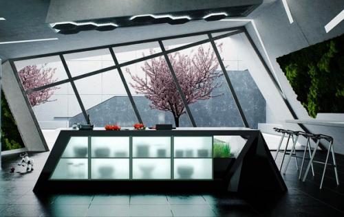 Кухонный дизайн, идеи белый с сидением из стали