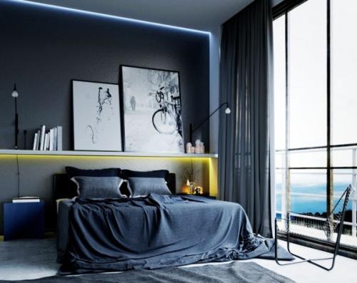 идеи для холостяцкой спальни модные серая стена